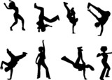 Fototapety hip hop and dancing silhouettes