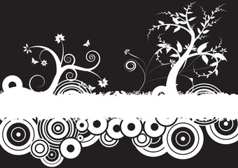 trendy grunge vector floral design