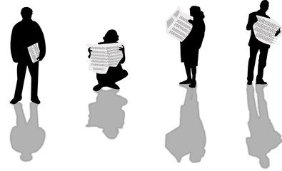 newspapers silhouettes