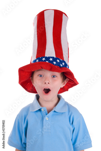 Young boy wearing a stars and stripes patriotic top