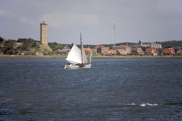 Sailingboat on the waddenzee near Terschelling