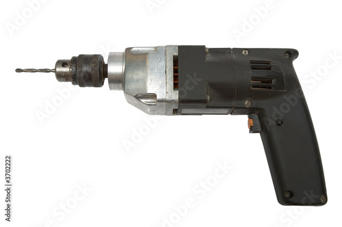 Electric drill with a drill on a white background