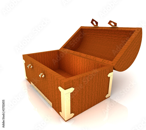 opened chest isolated on white background
