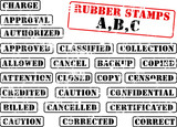 Collection of rubber stamps beginning with A,B,C. poster