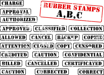Collection of rubber stamps beginning with A,B,C.