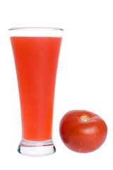 Tomato juice and a tomato isolated on white
