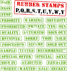 Collection of rubber stamps with letters P,Q,R,S,T,U,V,W,Y.