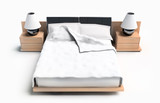 Bed on a white background 3d rendering image poster