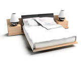 Bed on a white background 3d rendering image. poster