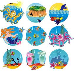 Warm water life - fish, octopuses, mermaid, treasure island