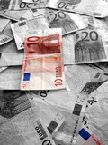 twenty euros - Lens focused on the banknotes poster