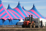 Circus tent being built up poster