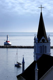 Old Church & Tranquil Harbor poster