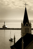 Old Church & Tranquil Harbor (Sepia) poster
