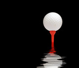White golf ball on red tee. Black background with water effect. poster