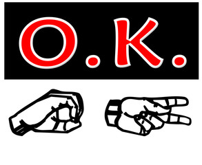 O.K. in both American Sign Language and letters