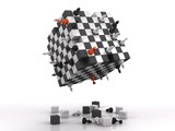 Fototapety 3d chessboard with fighting figures