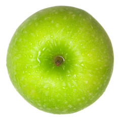 Top view of a green apple isolated on white background..