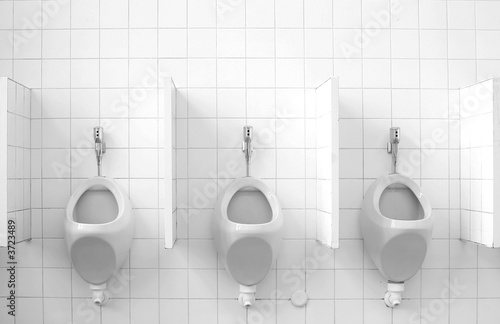 A row of three public urinals