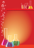 Different chemical substances in laboratory glasses poster