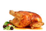 Golden roasted chicken, ready to serve.