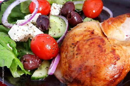 Roast chicken and Greek salad