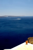 greek island scene with cruise ship islands and ceramic vase poster