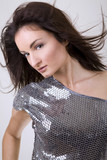 pretty brunette wearing disco outfit  poster