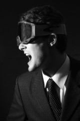 White-collar worker in goggle in a rage. Black&white