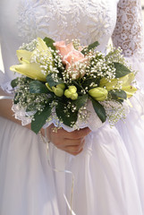 bridal bouquet  before ceremony