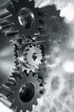 gear mechanism in sliver toning poster