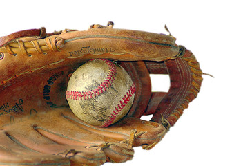 Old Baseball and Glove