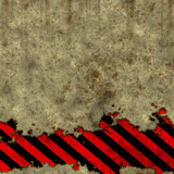 Old dirty wall with warning stripe poster