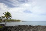 Azure Sky and Ocean at Kona Island Volcanic Lava Shore, HI poster