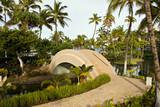 Walkway and Bridge at Tropical Resort, Hawaii Kona Island poster