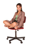 A short smiling African businesswoman  poster