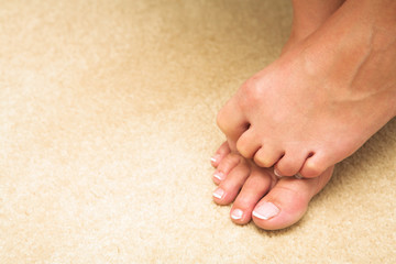 Feet and toes of a young adult woman