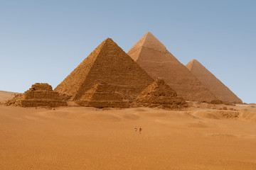 Panaromic view of six Egyptian pyramids in Giza, Egypt