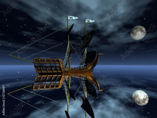 Keuken foto achterwand Schip Ancient galeon in pirate bay