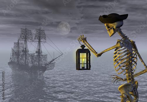 Leinwanddruck Bild Skeleton Pirate with Ghost Ship