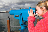 Coin operated view finder or telescope at the Waterfront poster