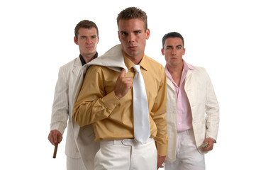 Three shady characters dressed in white