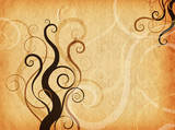 Swirls and curls on grunge style background poster