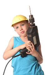 a boy is holding big black drill