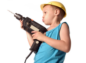 a boy is holding black drill