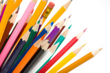 thick colored pencils against a white background color poster