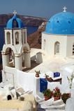 greek island church over aegean sea santorini greece poster