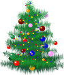 Christmas tree with baubles and lights - vector