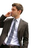 business man mit handy isoliert auf weiß