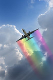 Plane Flying Through the cumulus clouds poster